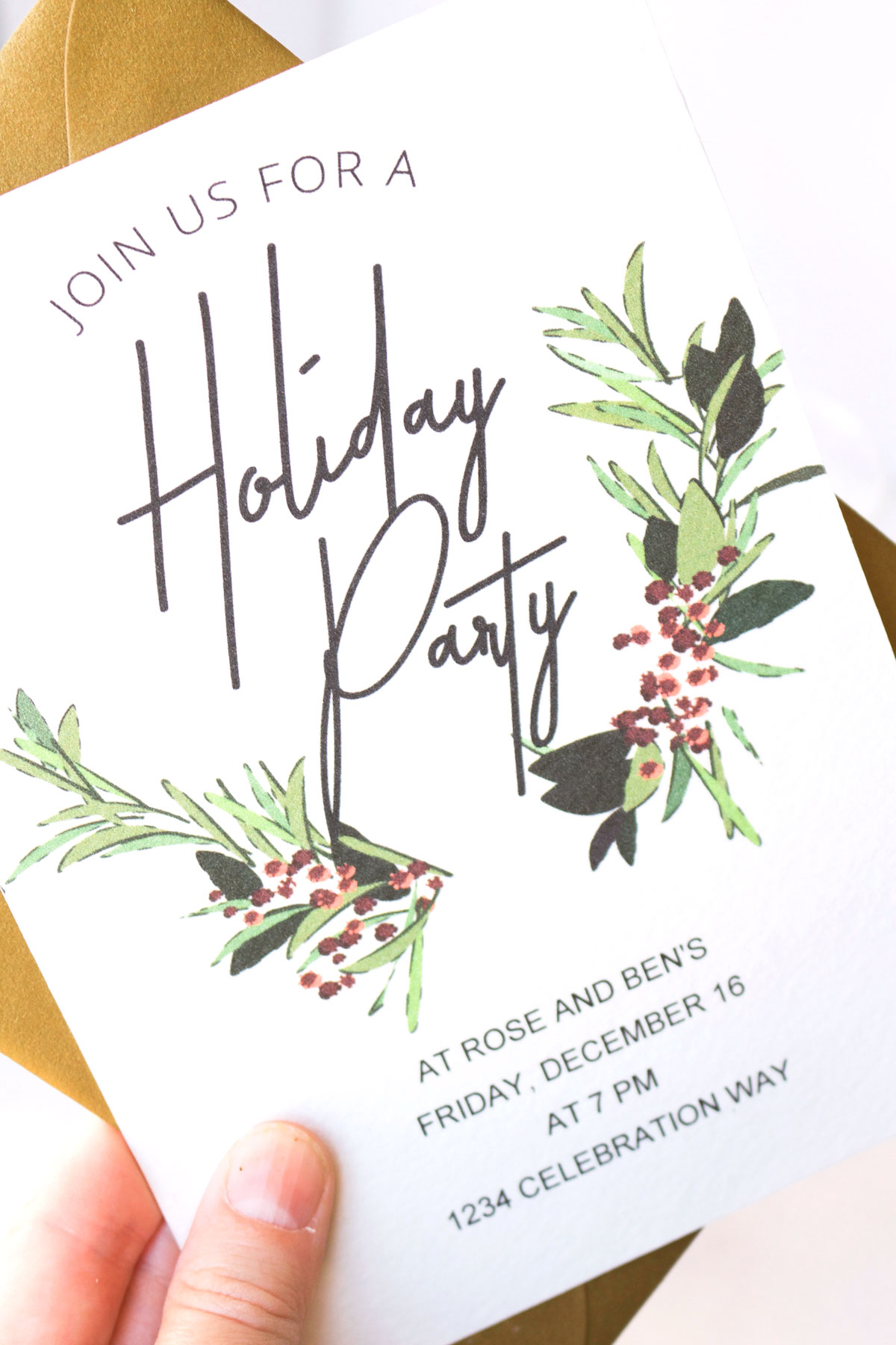 Holiday printable party invitation